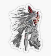 Mononoke Wolf Anime Tra Peinture Numérique Sticker transparent