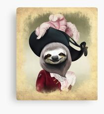 Aristocratic Lady Sloth Oil Painting Style Portrait Canvas Print