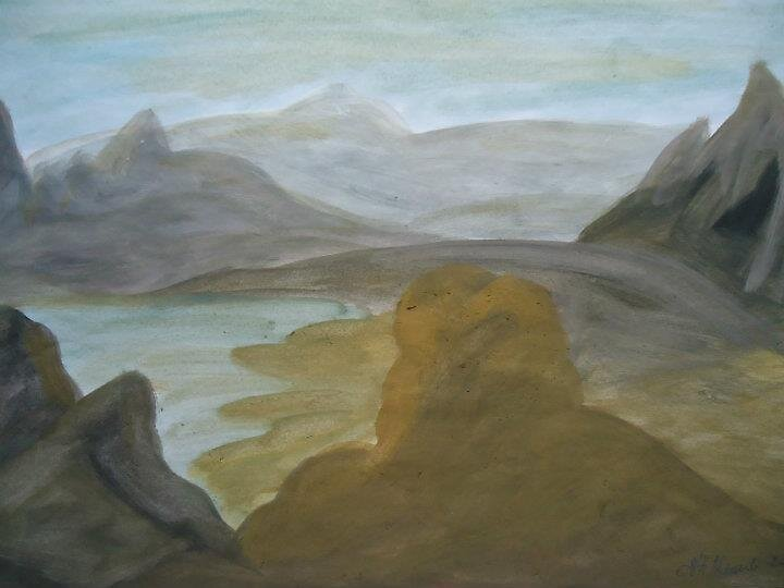 swiss mountain in watercolor by fladelita
