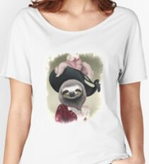 Aristocratic Lady Sloth Oil Painting Style Portrait Women's Relaxed Fit T-Shirt