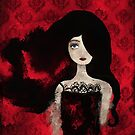 Female Portrait midst a Red Damask Painted Wall by YazminBasa