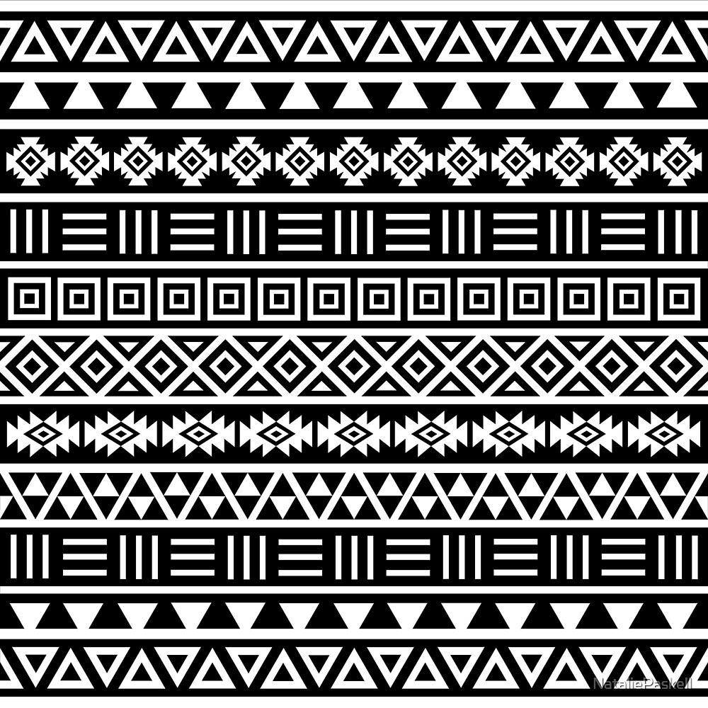 """Aztec Influence Pattern II White on Black"" by ..."