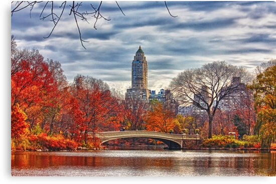 Bow Bridge, Central Park, New York on an Autumn day by printsforwalls