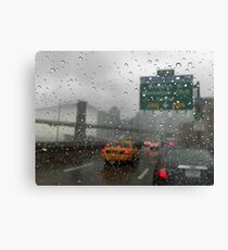 Brooklyn bridge and FDR drive at rainy day Metal Print