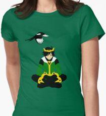 A boy and his magpie (cowl off) Womens Fitted T-Shirt
