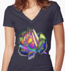 Splendiferous rose design Women's Fitted V-Neck T-Shirt