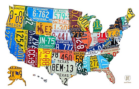 License Plate Map of The United States 2012 Edition 3 on White ...