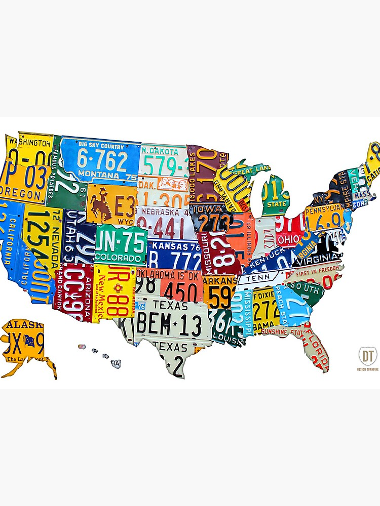 License Plate Map Of The United States 2012 Edition 3 On White - Us-map-license-plates