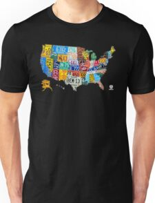 License Plate Map of The United States 2012 Edition 3 on White Unisex T-Shirt
