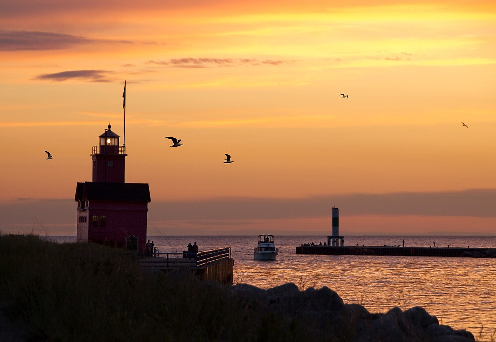 Big Red Lighthouse and Channel at Sunset by Randall Nyhof