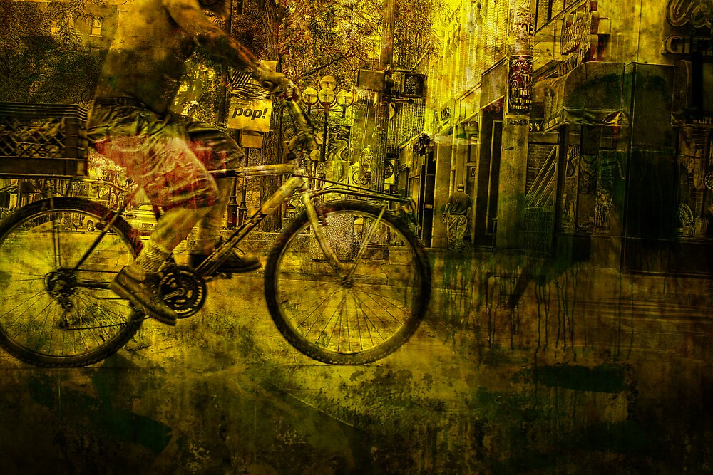 Bicyclist On the Move No.4 by Randall Nyhof