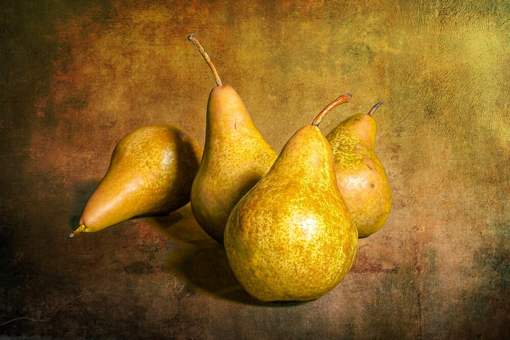 Four Pears on warm amber background by Randall Nyhof