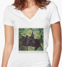 Lomography time Women's Fitted V-Neck T-Shirt