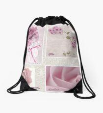 Pansies, Roses And Phlox Photo Collage Drawstring Bag
