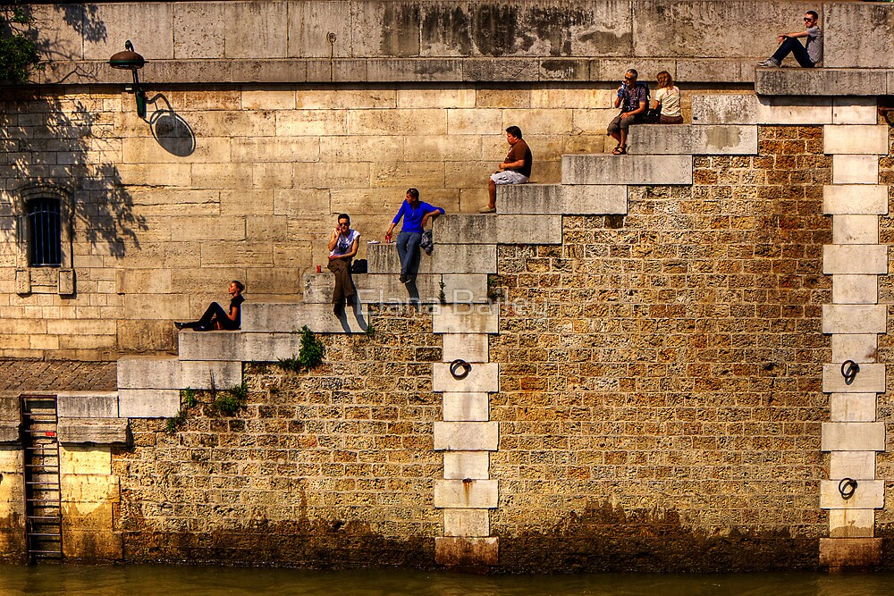 Lunchtime by the Seine in Paris, France by Elana Bailey
