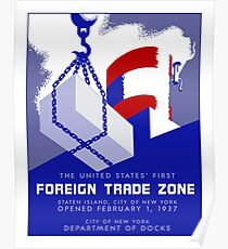 Retro vintage style New York Port Harbor Foreign Trade Zone Poster