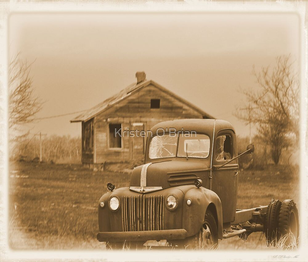 Worn Out Truck & Cabin by Kristen O'Brian