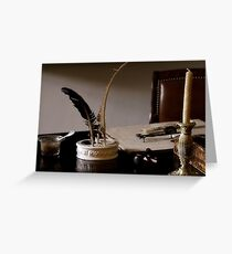 Quill Pen And Desk Greeting Card