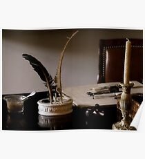 Quill Pen And Desk Poster