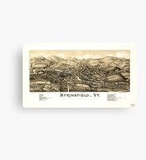 Panoramic Maps Springfield Vt Canvas Print