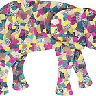 Elephant Collage in Gray Hot Pink Teal and Yellow by ElephantTrunk