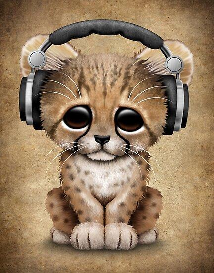 cute cheetah cub dj wearing headphones posters by jeff bartels