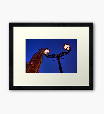 The Bell Tower and a lamp at night in Bruges, Belgium Framed Print