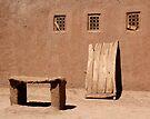 Three Windows, a Door and a Bench, Skoura Morocco by Debbie Pinard
