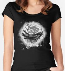 Vintage Black and White Rose Fine Art Women's Fitted Scoop T-Shirt