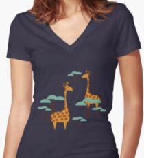 Giraffes Women's Fitted V-Neck T-Shirt