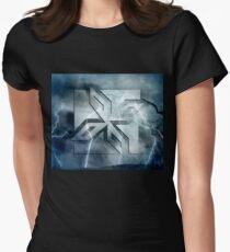 Art Deco Ninja Star Icon, stone lightning overlay Womens Fitted T-Shirt
