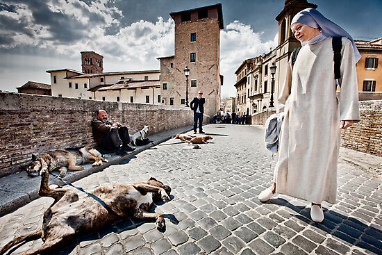 Nun and Dog Rome Italy by Heather Buckley