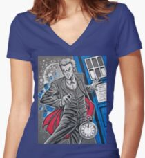 """The Twelfth Doctor (""""All Thirteen!"""") Women's Fitted V-Neck T-Shirt"""