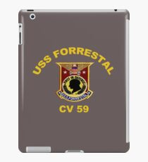 USS Forrestal (CV-59 AVT-59, CVA-59) Crest for Dark Colors iPad Case/Skin