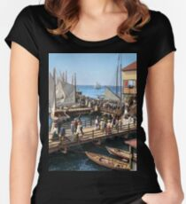 Pier at the inlet, Atlantic City, N.J. year 1904 Women's Fitted Scoop T-Shirt