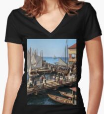 Pier at the inlet, Atlantic City, N.J. year 1904 Fitted V-Neck T-Shirt