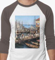 Pier at the inlet, Atlantic City, N.J. year 1904 Men's Baseball ¾ T-Shirt