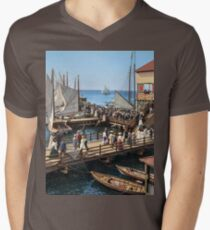 Pier at the inlet, Atlantic City, N.J. year 1904 V-Neck T-Shirt