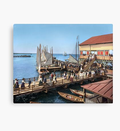 Pier at the inlet, Atlantic City, N.J. year 1904 Canvas Print