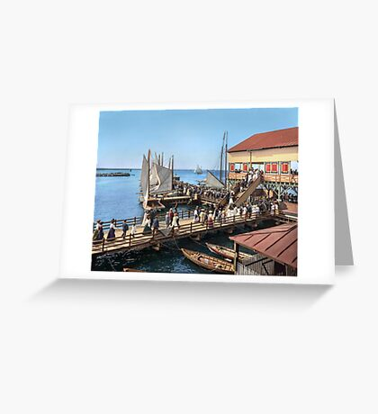 Pier at the inlet, Atlantic City, N.J. year 1904 Greeting Card