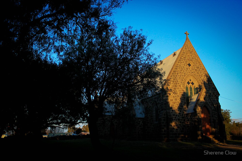 The Redesdale Church in Sunset by Sherene Clow