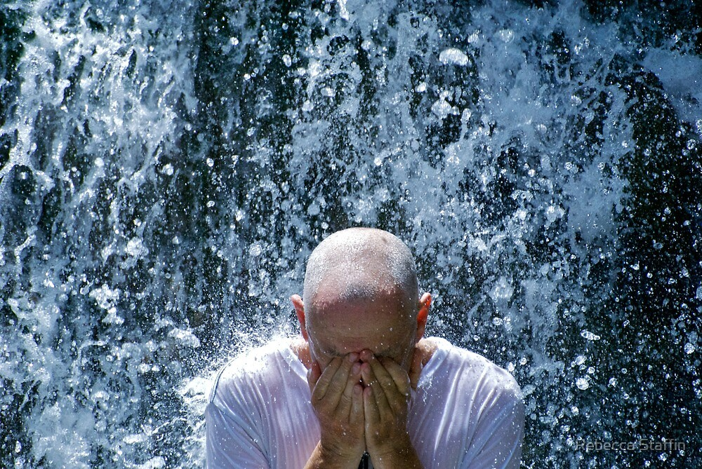 Water Falling on Man by Rebecca Staffin