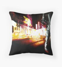 bright lights, red shoes Throw Pillow