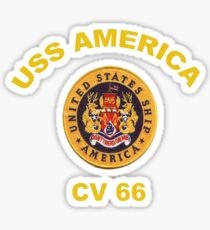 USS America (CVA/CV-66) Crest for Dark Colors Sticker