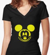 YELLOW MOUSE Women's Fitted V-Neck T-Shirt