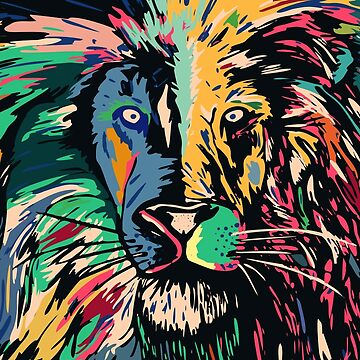 Lion multi colors closeup by weirdbird