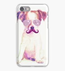 Funny Chihuahua purple Mustache and glasses  iPhone Case/Skin