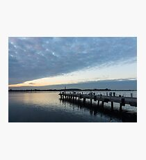 Morning Jetty - A Luminous Daybreak On Harbourfront Photographic Print