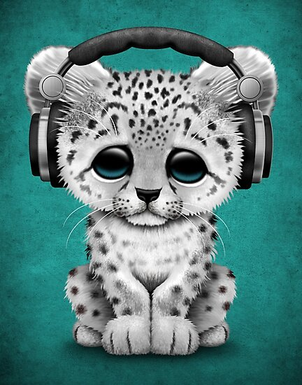 cute snow leopard cub dj wearing headphones on blue photographic prints by jeff bartels. Black Bedroom Furniture Sets. Home Design Ideas