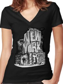 New York City Pencil by Tai's Tees Women's Fitted V-Neck T-Shirt